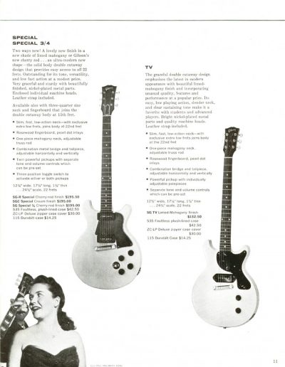 1960 Gibson catalog showing thick body SGs